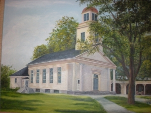 This picture hangs in the Denniston Room and shows the church prior to the sunday school addition.   Note the stables to