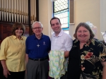 Prayer baby blanket presented to Bill Hoopper on June 15, 2014.  Knitted by Peggy Wright.